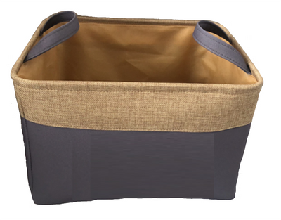 """Fabric & Jute basket with handles  14.2""""x12""""x10""""H"""