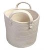 "Round white cotton basket with handles 10""Dx8""H"