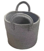 """Round grey cotton basket with handles 10""""Dx8""""H"""