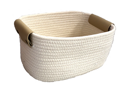 """Oval white cotton basket with pleather handles 12""""x8""""x6""""H"""