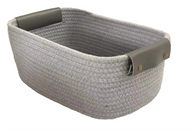 """Oval grey cotton basket with pleather handles 12""""x8""""x6""""H"""