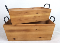 """Smallest in a Set of 2 Rectangular tapered wood containers with iron handles S: 16""""X8""""X5""""H"""