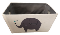 """Rectangular Off white basket with ELEPHANT trim and a matching fabric liner 13""""x10""""x6""""H"""