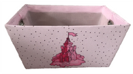 """Rectangular pink basket with CASTLE theme and a matching fabric liner 13""""x10""""x6""""H"""