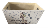 """Rectangular Off white basket with It's a Boy Theme and a matching fabric liner 13""""x10""""x6""""H"""