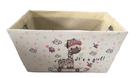 """Rectangular Off white basket with It's a Girl Theme and a matching fabric liner 13""""x10""""x6""""H"""