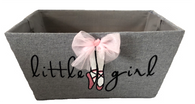 """Rectangular grey ballet theme """"LITTLE GIRL"""" basket with a bow & a matching fabric liner 13""""x10""""x6"""""""