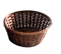 "10""D Round bamboo basket 4""H"