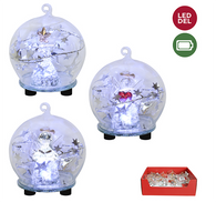 """LED Light up clear glass ball with an angel 3""""D - 3 Styles"""