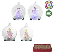 """LED Light up clear glass ball with colour changing lights 2.8""""D - 4 Styles"""