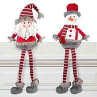 "Fabric sitting snowman/Santa 24""H"