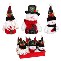 """Fabric ornaments 6""""H- 3 styles"""