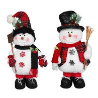 "Fabric standing snowman 18""H - 2 styles"
