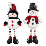 """Fabric sitting snowman with bead legs 19""""H - 2 styles"""
