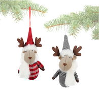 """Plaid fabric reindeer ornament with fur scarf 7"""" - 2 styles"""