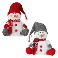 "Fabric sitting snowman 14""H - 2 styles"