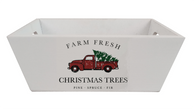 """Rectangular tapered """"Christmas Truck"""" wood container 11""""x7""""x4""""H"""