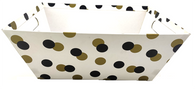 Large Market tray - WHITE WITH BLACK & GOLD DOTS