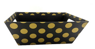 """Small Market tray - BLACK WITH GOLD DOTS 9.2""""x7.2""""x3.6""""H"""