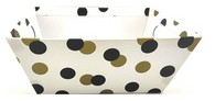 """Small Market tray - WHITE WITH BLACK & GOLD DOTS  9.2""""x7.2""""x3.6""""H"""