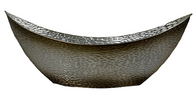 """Large boat shaped metal container - Pewter look 23""""x10""""x6""""Hx10""""TH"""