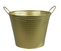 """Gold embossed metal bucket with ear handles 9.2""""Dx7.2""""H"""