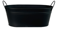 """Oval Metal black container w/handles 15""""x7""""x5.25""""H"""