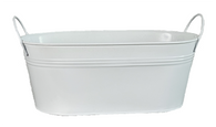 """Oval Metal white container w/handles 15""""x7""""x5.25""""H"""