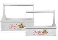 """Smaller in Set of 2 White wood """"Jingle all the way"""" tool box style baskets S: 12""""x6""""x14""""H"""