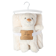Furry Ivory blanket with bear plush