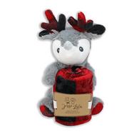 Reindeer plush & plaid blanket