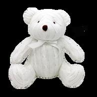 "100% Cotton cable knit bear - WHITE 12""H"