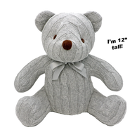 """100% Cotton cable knit bear - GREY 12""""H"""