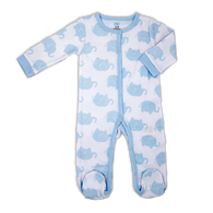 Coverall sleeper 100% Cotton - BLUE ELEPHANT  0-3M or 3-6M