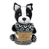 "Dog plush & coral fleece blanket set 100% Polyester, blanket: 30""x30"""