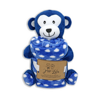 "Monkey plush & coral fleece blanket set 100% Polyester, blanket: 30""x30"""