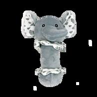 "Soft grey elephant rattle 6.5""H"