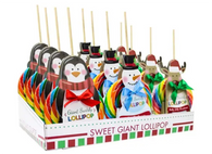 5 oz lollipops with adorable character sleeves. Comes in 12 ct display tray