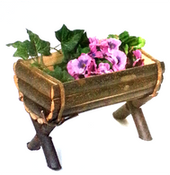 "Half barrel wooden planter with liner 12""x7.5""x9.5""H"