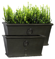 "Set of 2 Fiberglass planters in Antique Metal finish L:   30""x15""x15""H S:  24""x12""x12""H"