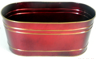 CT431VX ƒ?? Red metal container with gold trim 14ƒ?x7.5ƒ?x6ƒ?H (min 3, 20/crtn)
