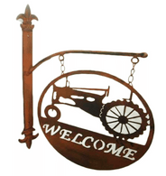 "Metal welcome wall decor 10.25""x15""H (min 2, 12/carton)"