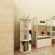 3 Tier Versatile Round Wooden Rotating Swivel Bookshelf Display Shelf White