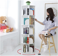 5 Tier Versatile Round Wooden Rotating Swivel Bookshelf Display Shelf White