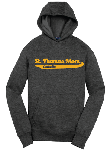 Cotton/polyester fleece fabric youth hoodie with St Thomas More Banner Logo printed on the front chest. Sizes are youth.