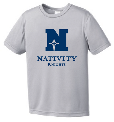 Nativity Youth Performance Tee 100% Polyester Printed with the Nativity logo