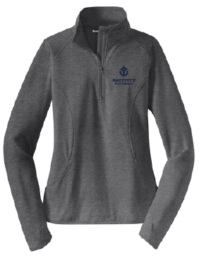 Nativity Women's 1/4 Zip Pullover with Brushed Lining. Printed logo on the left chest.