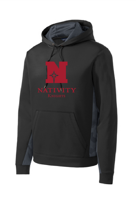 For maximum impact, our anti-static pullover has a sublimated CamoHex print strategically placed inside the hood and on the inner sleeves and side panels. Sport-Wick moisture-wicking technology helps keep you cool.  Main color is black.