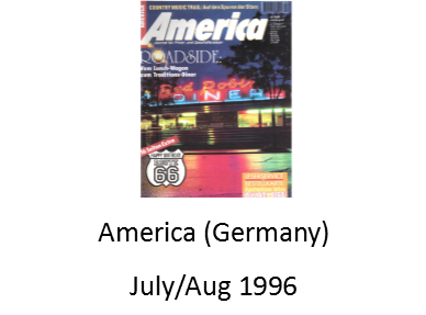 America (German Magazine) July August 1996 features the Delgadillo Route 66 Gift Shop in Seligman Arizona