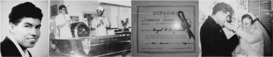 Angel Delgadillo, Angel playing pool, Angel's Barber Diploma, Angel & Vilma's wedding reception